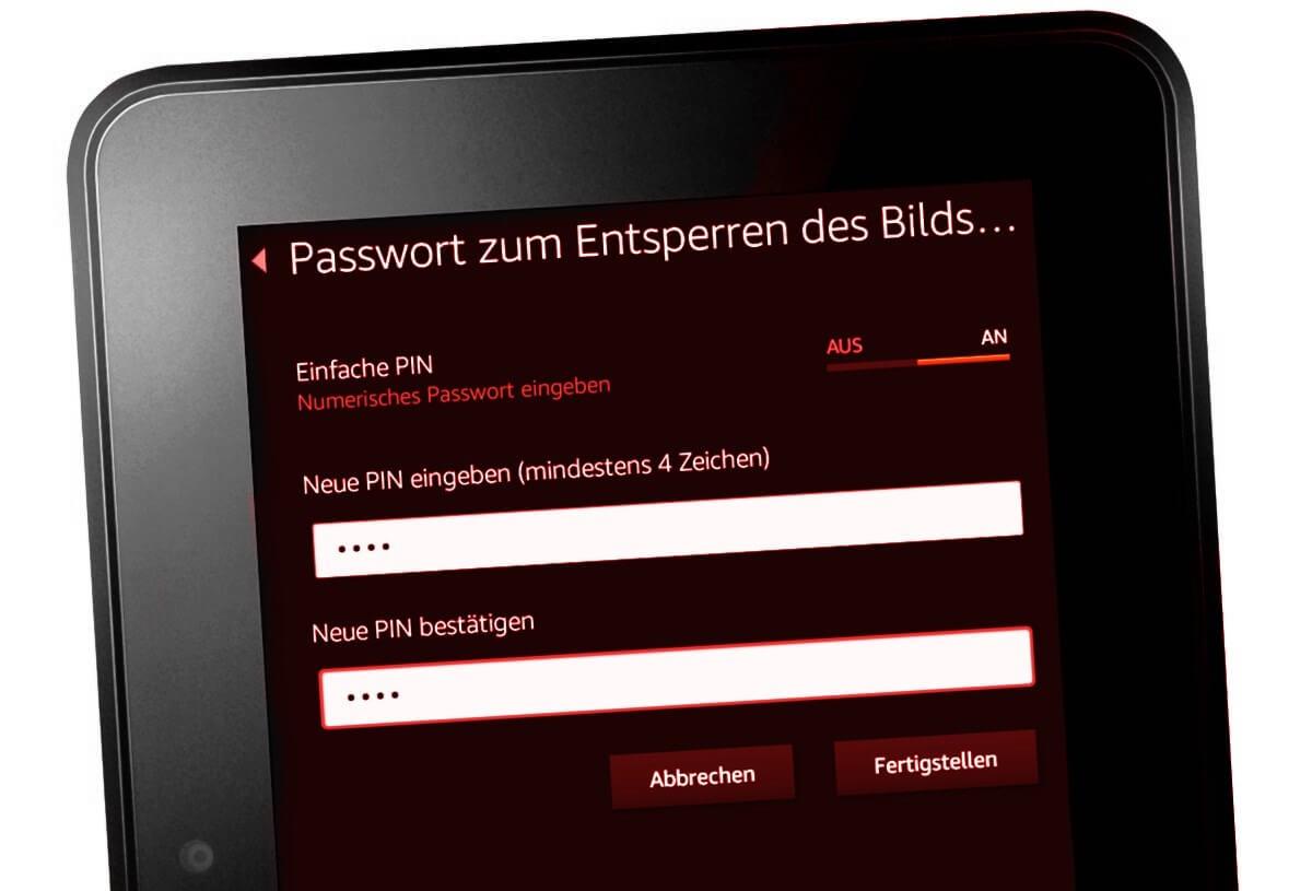 Amazon Kindle Fire 7 mit Passwort schützen