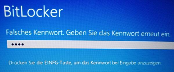 BitLocker: Falsches Passwort