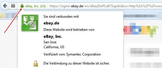 Ist es wirklich eBay? Das Schlosssymbol sagt es (meistens).