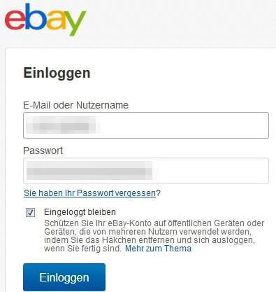 Anmelden bei eBay