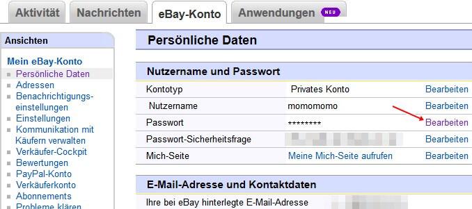 eBay: Kennwort bearbeiten
