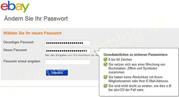Endlich: eBay-Passwort ändern