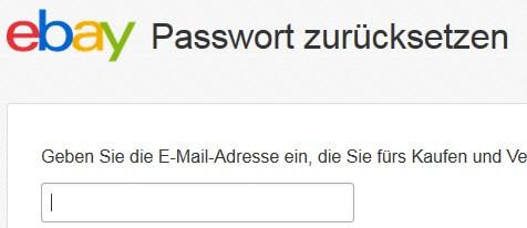 eBay-Passwort zurücksetzen