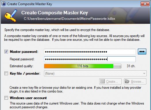 KeePass 2: Master-Passwort