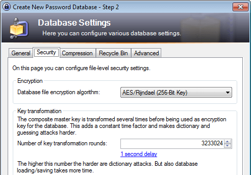 KeePass 2: Security Settings