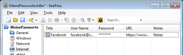 KeePass 2: Ordner