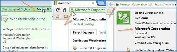 Prüfen, ob Sie bei Microsoft outlook.com sind