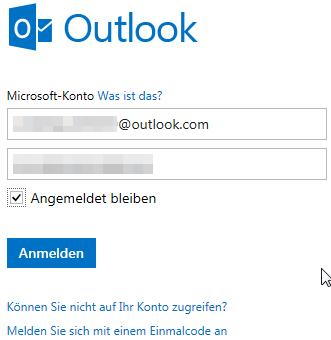 Anmelden bei Outlook.com