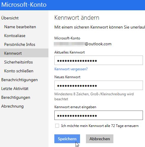 outlook.com: Passwort ändern