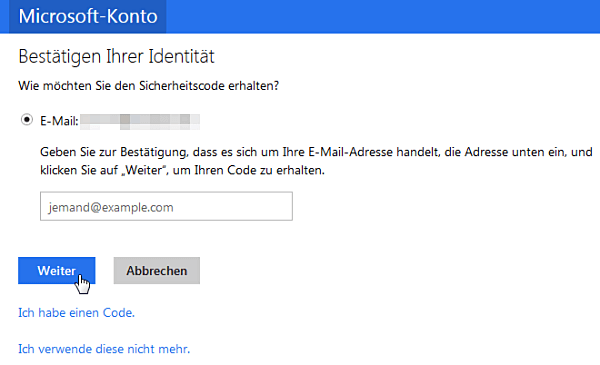 outlook.com: Sicherheitscode
