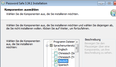 Password-Safe: Installation in deutscher Sprache