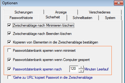 Password Safe: automatisches Sperren