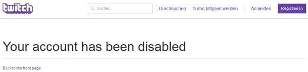 twitch.tv: Account löschen