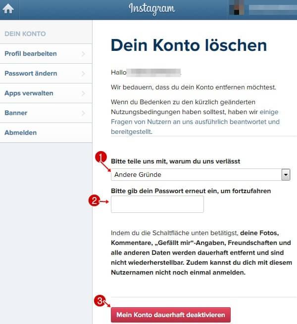 Instagram löschen - der Link. Insta Konto & Account
