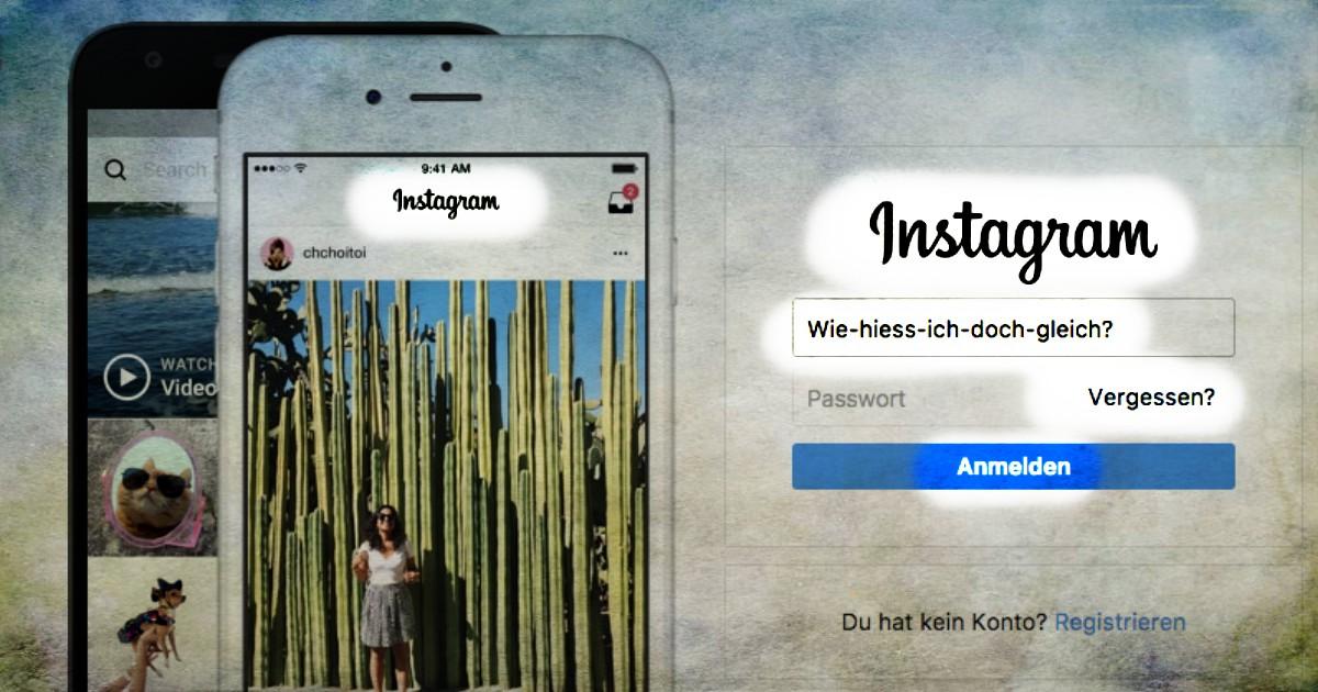 Instagram Benutzernamen vergessen finden
